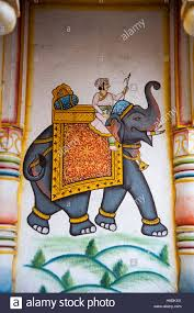 indian elephant wall painting stock photos indian elephant wall elephant art painting on the wall at pushkar rajasthan india stock image