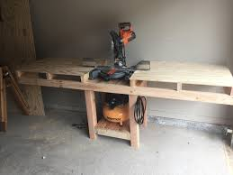 miter saw table with a shelf for my air compressor woodworking