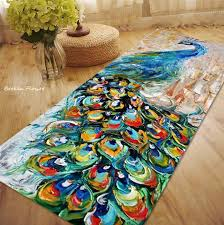 Peacock Area Rugs Peacock Carpet Kitchen Slip Resistant Carpet Thick Floor Mat