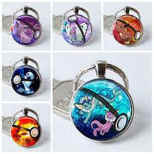 round key rings images Vaporeon pokemon pokeball key chains silver plated fashion round jpg