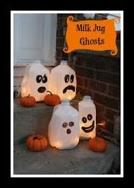 Recycled Halloween Crafts - milk jug ghosts bayshore recycling