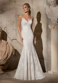 Wedding Dresses With Straps Elegant Alencon Lace With Crystal Beaded Straps Morilee Bridal