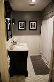 design home game vanity hex tile wainscoting dark vanity gray paint home design ideas