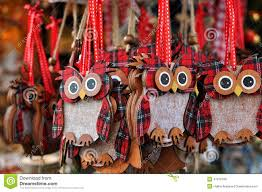 owl decorations at a christmas market stock photo image 47516708