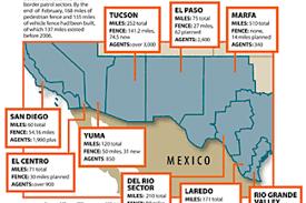 map usa mexico border where u s mexico border fence is border crossings fall