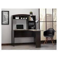 Ameriwood Corner Desk Sutton L Shaped Corner Desk With Hutch Espresso Rustic Oak