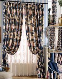 Blue Floral Curtains Curtains Blue Floral Print Polyester Room Darkening