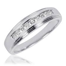 mens wedding rings white gold 1 carat t w diamond trio matching wedding ring set 10k white gold