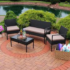 4 Piece Wicker Patio Furniture - sunnydaze anadia 4 piece lounger patio furniture set with black