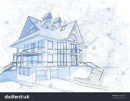 blue print house architecture design blueprint house vector illustration stock