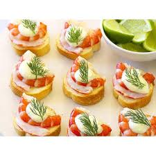 canapes with prawns prawn croutes with lime aioli recipe food to