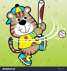 vector cartoon tiger baseball athlete stock vector 628975403