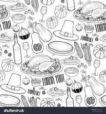 graphic thanksgiving collection drawn stock vector