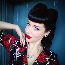 pinup clip in ponytail with bangs clip in bettie bangs miss victory violet