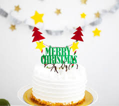 1set letter merry christmas cake toppers with paper straw