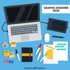Graphic Designer Desk Graphic Designer Desk Flat Elements Vector Premium Download