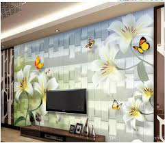 3d Murals by 3d Customized Wallpaper White Lily Fresh And Elegant Butterfly Tv
