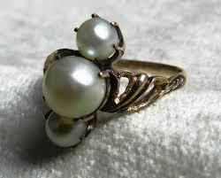 pearl ring pearl engagement ring art deco 3 pearl 1920s 14k rose