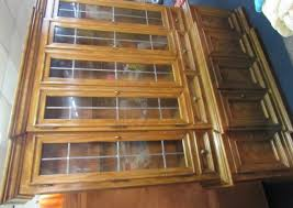 lot detail beautiful drexel hutch with leaded glass doors