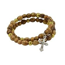 rosary bead bracelet authentic olive wood rosary bracelet with cross