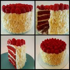 homemade red velvet toasted coconut ruffle cake with raspberries