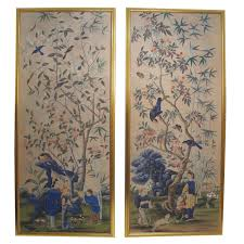 chinese room divider large antique hand painted chinese wallpaper panels for sale at