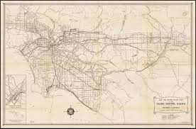 Los Angeles Rail Map by 1949 Pacific Electric Railway Co Rail And Motor Coach Lines In