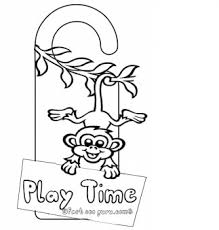 printable monkey coloring pages printable monkey doorknob hanger craft for kids play time