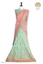 buy pistagreen color raw silk fabric half saree online