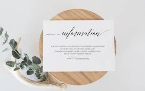 Wedding Invitation Information Card Wedding Information Card Template Wedding Details Card
