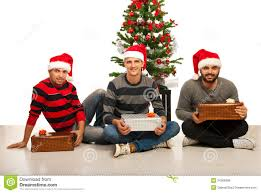 friends men with christmas gifts royalty free stock images image