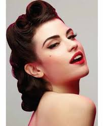 pin up updo hairstyles for long hair 50s inspired vintage pinup