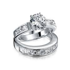 wedding rings set sterling silver 2ct cz princess engagement wedding ring set