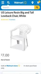 Walmart White Plastic Chairs Us Leisure Resin Big And Tall Lowback Chair White Walmart Com