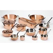 batterie de cuisine en cuivre série de 5 casseroles en cuivre de marque baumalu