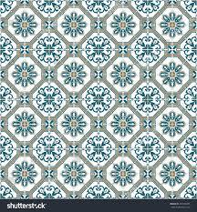 moroccan pattern circular flower green stock illustration