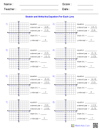 graphing lines given two ordered pairs worksheets math aids com