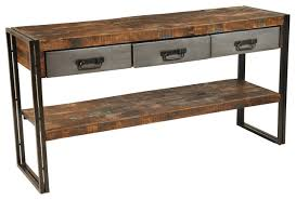 wood and metal console table reclaimed wood and metal 3 drawers and 1 shelf sofa table for metal