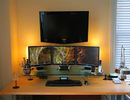 best gaming desk for 3 monitors three monitors and flat screen tv neat set up home office