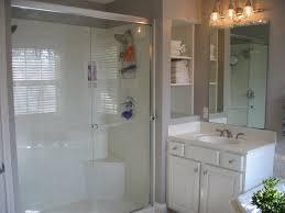 classic bathroom decoration with walk in shower half wall clear