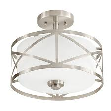 Flushmount Lighting Shop Kichler Edenbrook 11 38 In W Brushed Nickel Frosted Glass