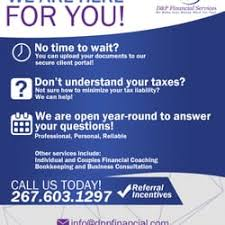 financial services phone number d p financial services tax services 501 washington ln