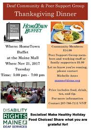 deaf community and peer support thanksgiving dinner at
