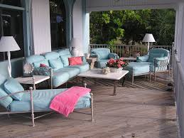 magnificent outdoor living room with blue chair couch plus sofa