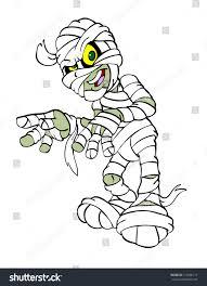 hand drawn cartoon mummy costumehappy halloween stock illustration