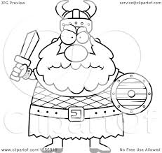 cartoon clipart of a black and white chubby mad viking man holding