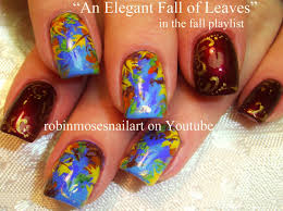 easy thanksgiving art easy autumn leaves pretty fall leaf nails art design tutorial