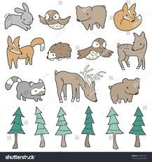 cute trees forest animals trees illustrated cute handdrawn stock vector