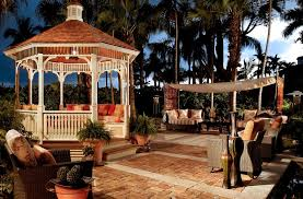 Gazebo With Awning Backyard Gazebo Patio Tropical With Awning Brick Paving Container