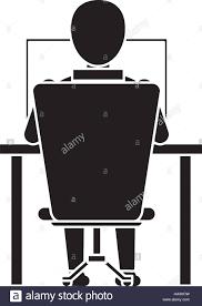 Laptop Chair Desk Silhouette Back Working Laptop Chair Desk Stock Vector